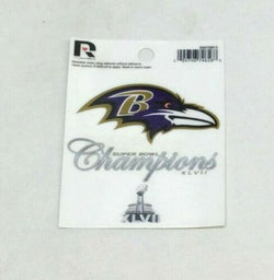 Baltimore Ravens Superbowl 47 Champioms Small Static Cling Window Decal 3x4 Size