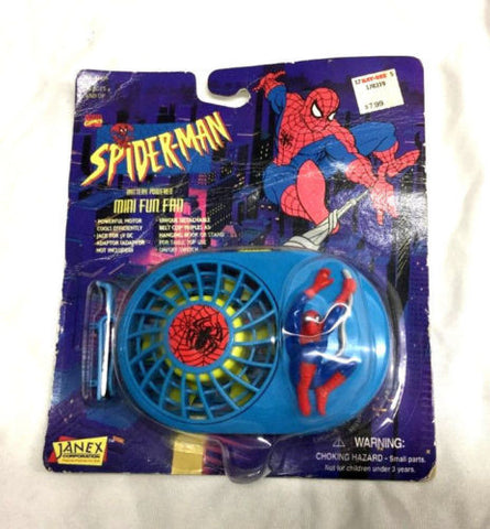 1995 Marvel Comics SpiderMan Battery Powered Mini Fun Fan MOC Sealed Carded