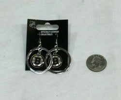 "NEW Official NHL Boston Bruins Earrings ""Hanging B's"" Pair Loop Hoops Dangle"
