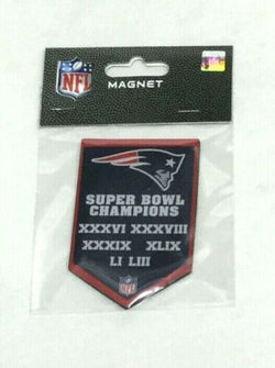 New England Patriots 6 Time 6X Super Bowl Champions Flat Magnet Banner Style