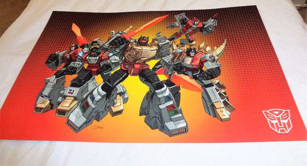G1 Transformers Autobot Dinobots Team Grimlock Swoop Poster 11x17 Box Art Grid