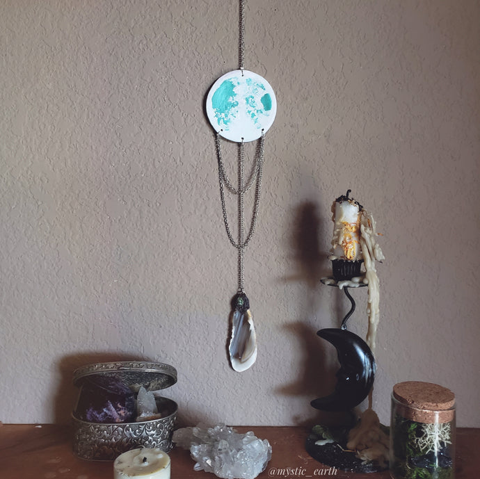 Emerald Full Moon Wall Hanging: Agate
