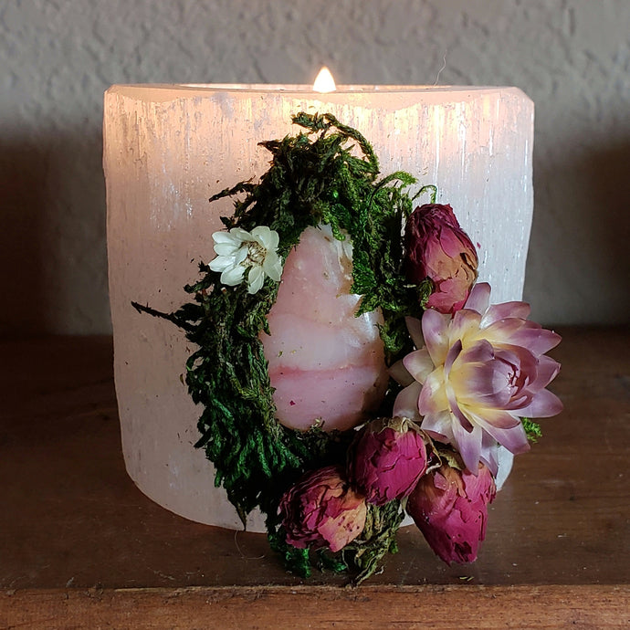 Floral White Selenite Crystal Candle Holder ~ Pink Opal