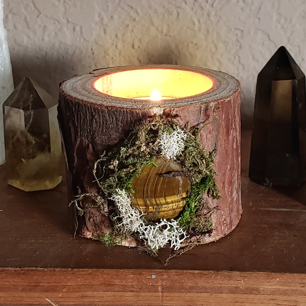 Wooden Tealight Holder: Tigers Eye