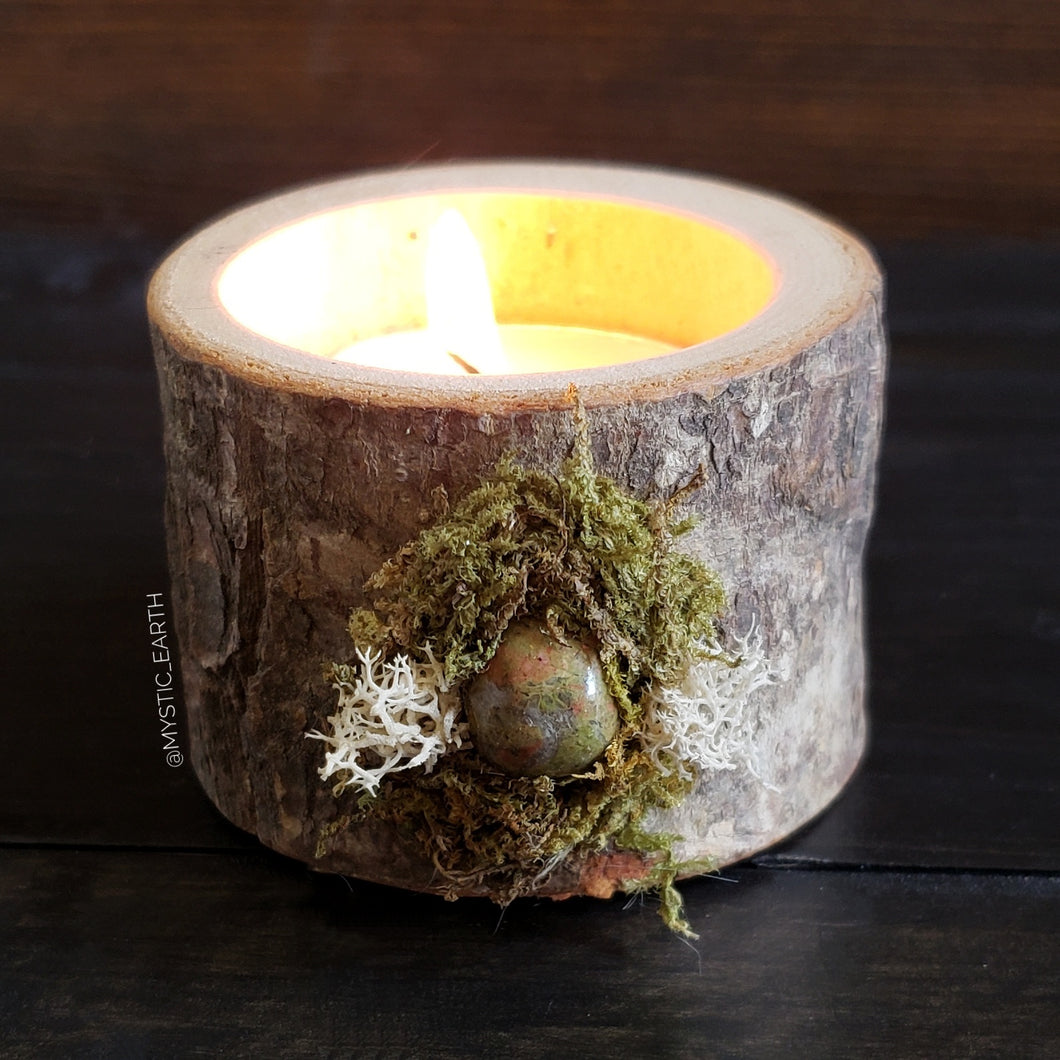 Unakite Wooden Tealight Holder 1
