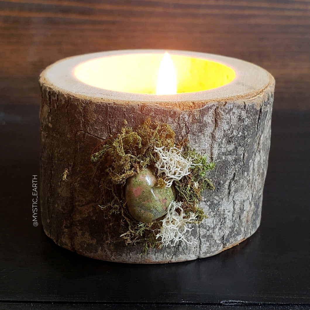Unakite Wooden Tealight Holder 3