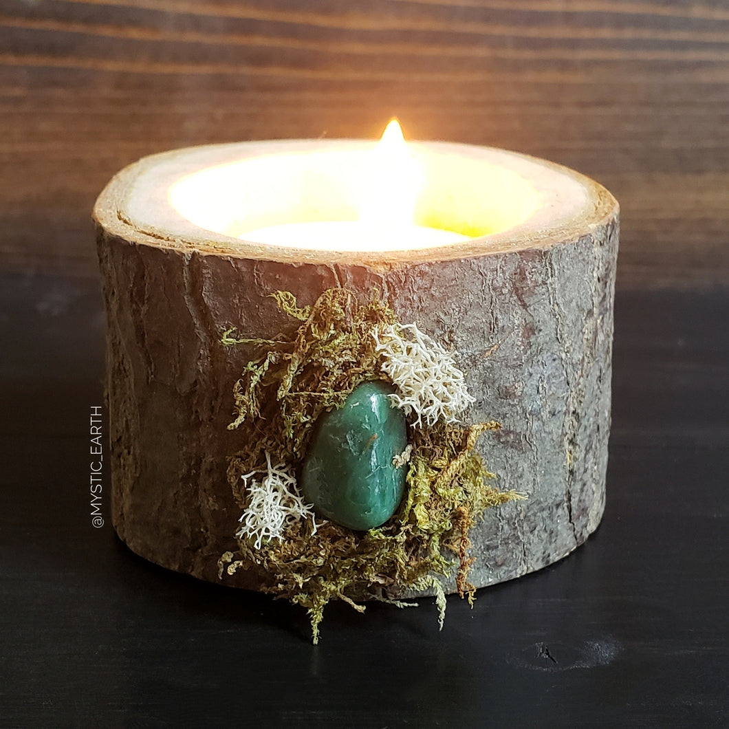 Green Aventurine Wooden Tealight Holder 3