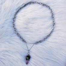 Stainless Steel Amethyst Crystal Necklace