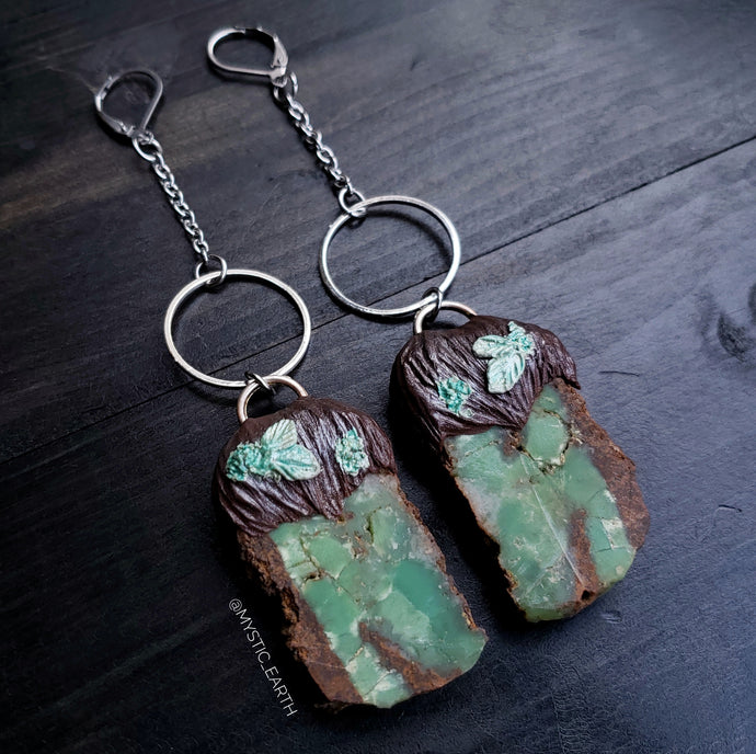 Chrysoprase Crystal Dangle Hoop Earrings
