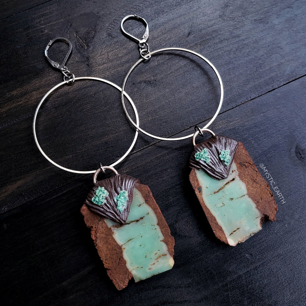 Chrysoprase Crystal Hoop Earrings