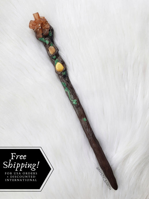 Mini Woodland Crystal Wand: Aragonite