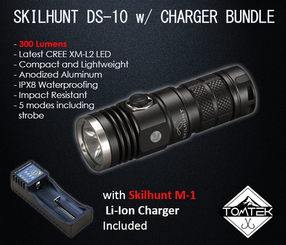Skilhunt  DS10 LED CREE XML-2 EDC Flashlight 300 Lumens w/ M1 Charger Package