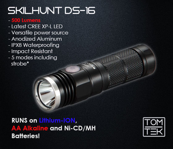 Skilhunt DS16 500 Lumens CREE XP-L LED Torch/Flashlight w/ M1 Charger Package