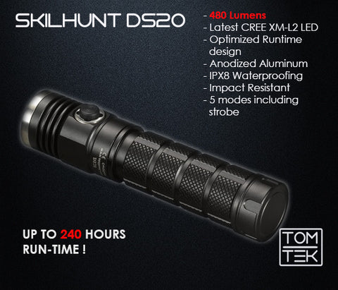 Skilhunt DS20 480 Lumens Flashlight w/ M1 Charger Bundle & Keeppower 18650 3500mah Package