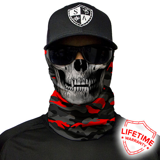 Fire Red Military Blackout Camo | Skull