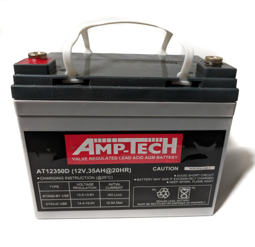 AMP-TECH 35AH AGM VRLA/SLA SEALED DEEP CYCLE MARINE BATTERY
