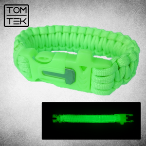 Survival Bracelet 3 in 1 Paracord Whistle Firestarter Flint GLOWING Camping Gear