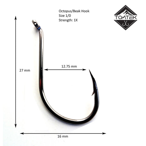 Suicide 1/0 Beak Fishing Hook Tomtek Tackle Octopus High Carbon Japan Steel