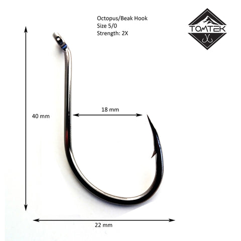 Suicide 5/0 Beak Fishing Hook Tomtek Tackle Octopus High Carbon Japan Steel