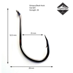 Suicide 8/0 Beak Fishing Hook Tomtek Tackle Octopus High Carbon Japan Steel
