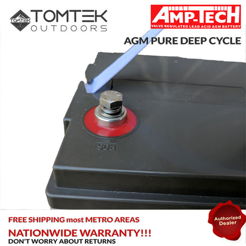 Image of AMP-TECH 120AH AGM VRLA/SLA SEALED DEEP CYCLE MARINE BATTERY