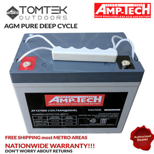 AMP-TECH 75AH AGM VRLA/SLA SEALED DEEP CYCLE MARINE BATTERY