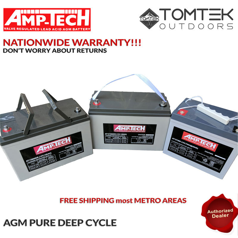 AMP-TECH 105AH AGM VRLA/SLA SEALED DEEP CYCLE MARINE BATTERY