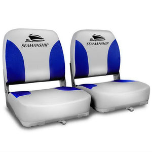 Set of 2 Swivel Folding Marine Boat Seats Grey Blue
