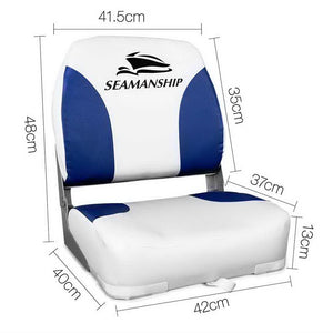 Set of 2 Swivel Folding Marine Boat Seats White Blue