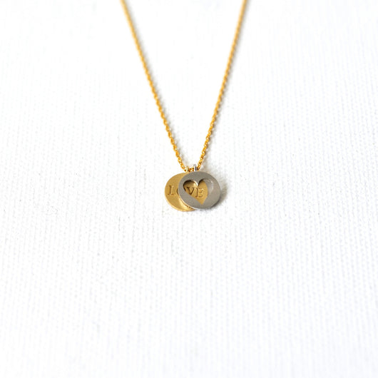 Love Heart Twin Disc Necklace