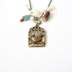 Bird and Cage Necklace