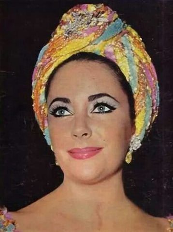 LIZ TAYLOR with TURBAN KNOT SCARF