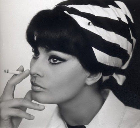 SOFIA LOREN black and white TURBAN