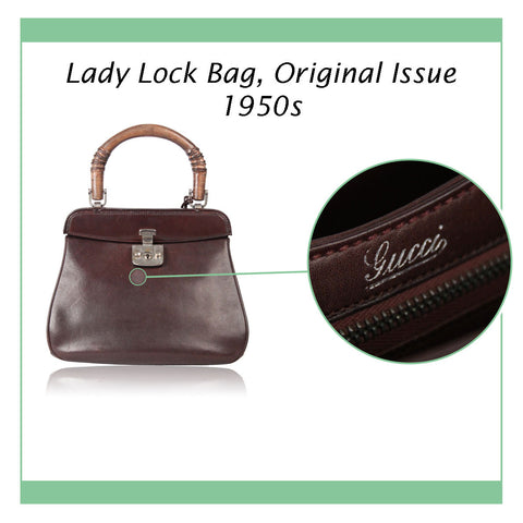 GUCCI RARE VINTAGE 50S BROWN LEATHER LADY LOCK BAG ORIGINAL ISSUE
