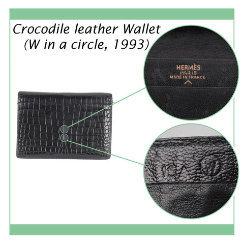 HERMES VINTAGE BLACK CROCODILE LEATHER BIFOLD WALLET