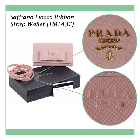 PRADA PINK LEATHER SAFFIANO FIOCCO RIBBON STRAP WALLET WOC 1M1437