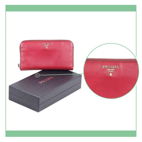 PRADA RED SAFFIANO LEATHER CONTINENTAL ZIP WALLET COIN PURSE W/ BOX