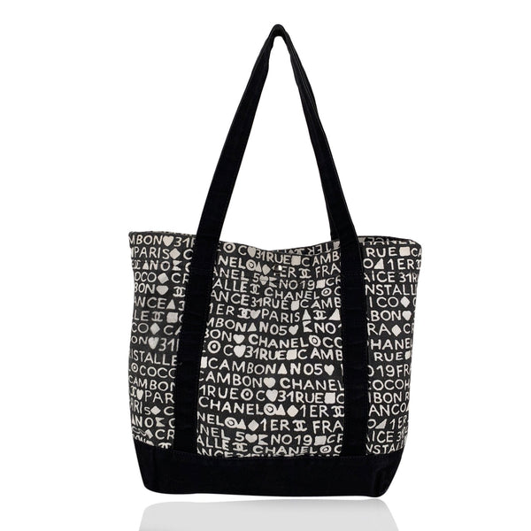 Chanel Black White Writings Cotton Canvas Tote Shoulder Bag