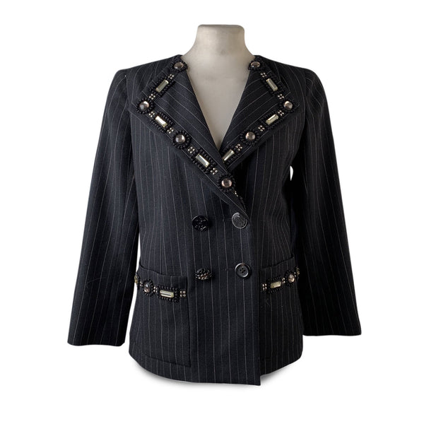 Marc Jacobs Embellished Black Wool Pinstriped Blazer Jacket Size 2