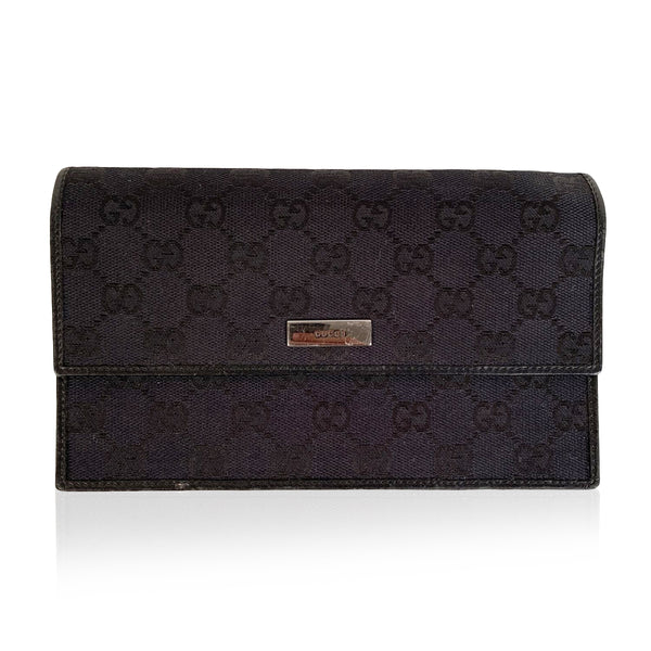 Gucci Black Monogram Canvas Flap Pouch Wallet Purse