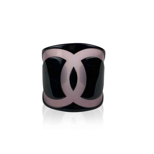 Chanel Black Resin Large CC Logo Plastic Cuff Bangle Bracelet XS