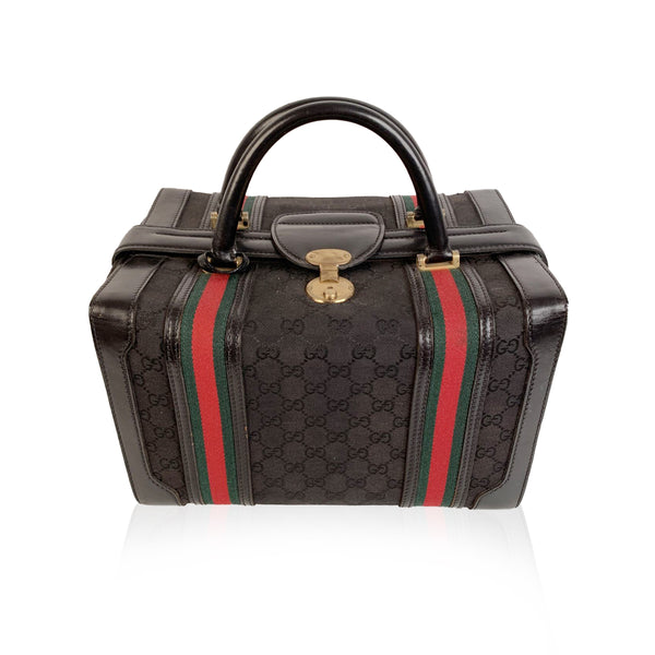 Gucci Vintage Black Monogram Canvas Train Case Beauty Bag
