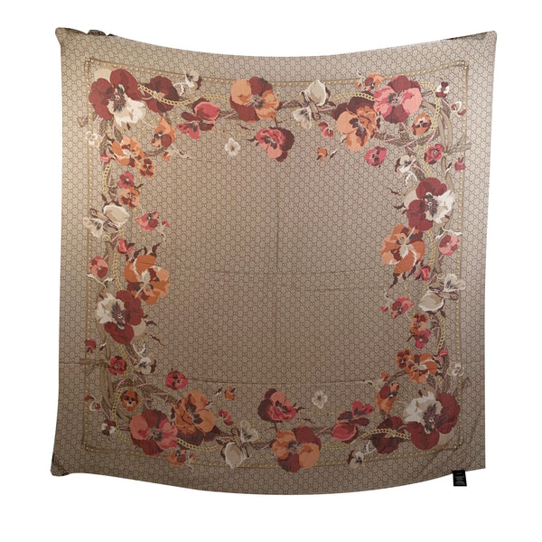 Gucci Monogram and Oshibana Flowers Wool Shawl Scarf