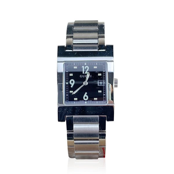 Gucci Silver Stainless Steel Wrist Watch Mod 7700 M Black Dial