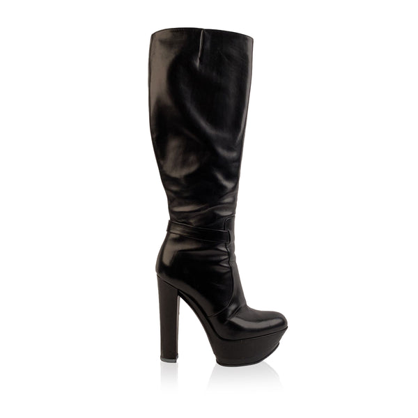Casadei Black Leather Heeled Platform Boots Size EU 39