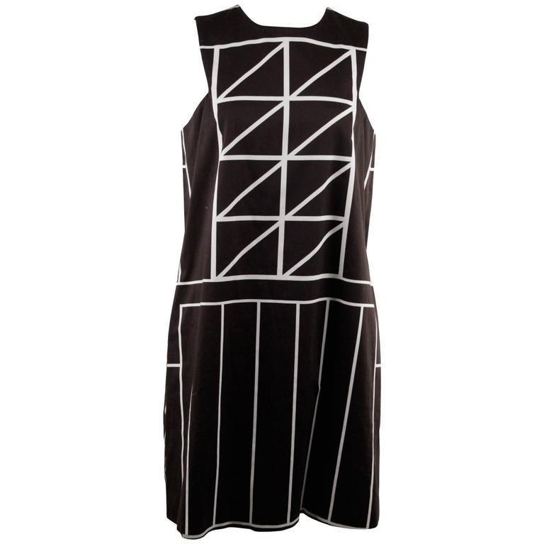 Galitzine Black and White Cotton Geometric Shift Dress Size 40 - OPHERTY & CIOCCI