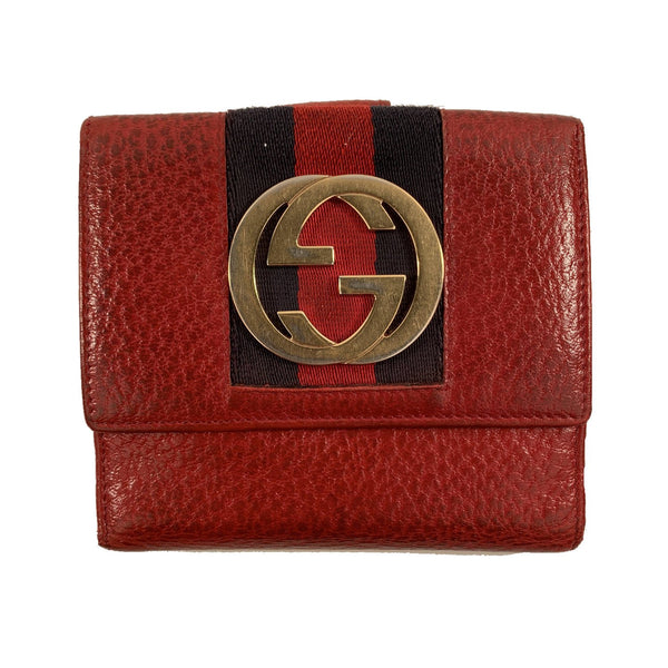 Gucci Red Leather Compact Wallet Coin Purse with GG Logo