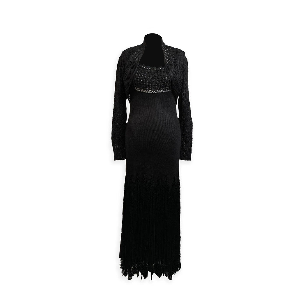 Christian Lacroix Black Knitted Maxi Dress with Jacket Size S