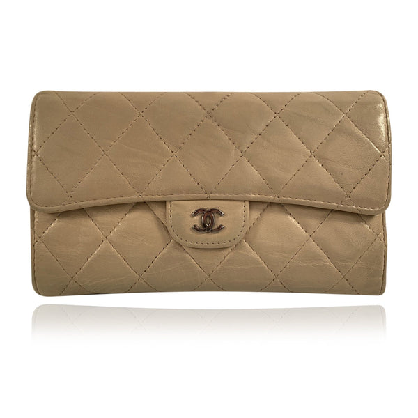 Chanel Beige Quilted Leather Classic Continental Flap Wallet