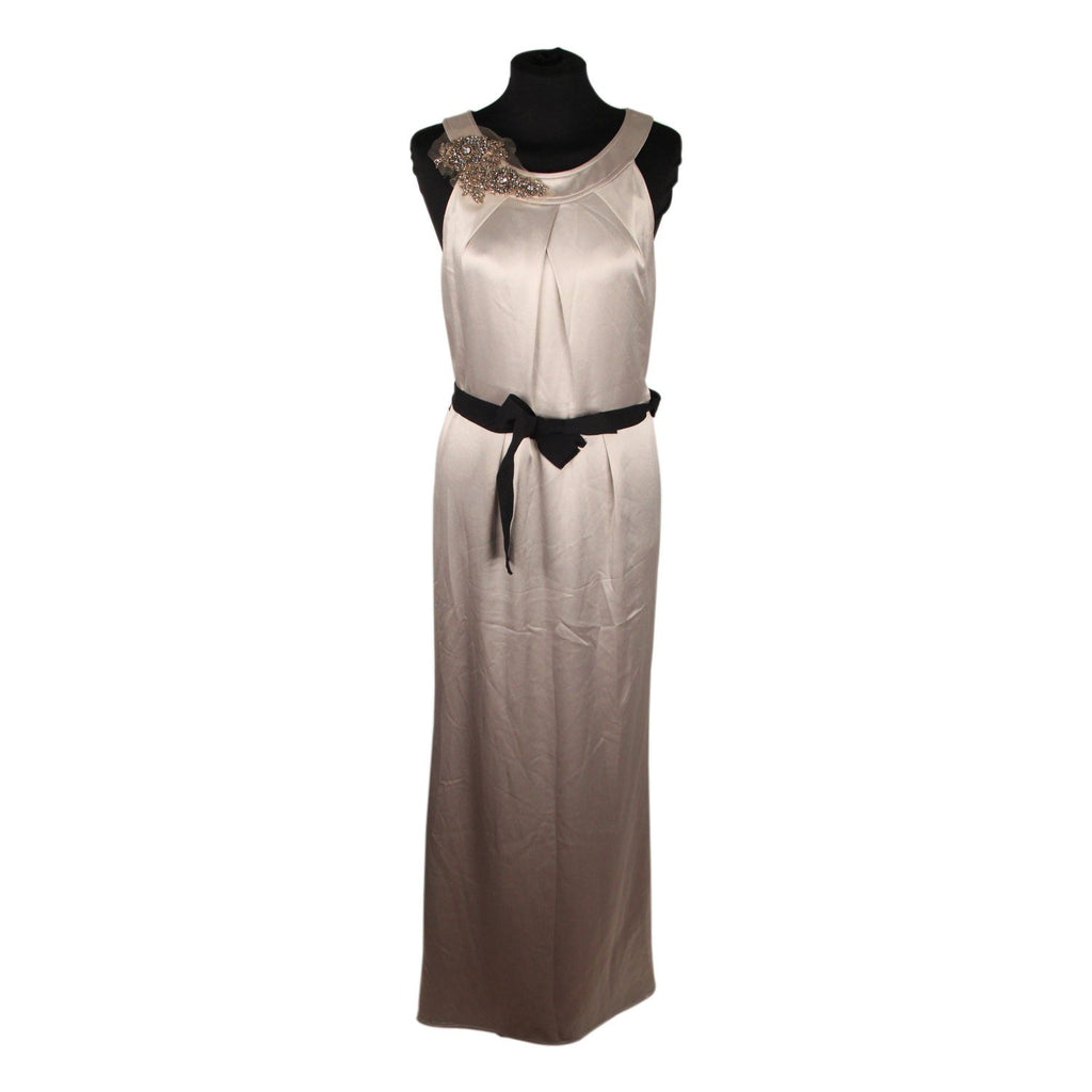 Gray Satin Evening Dress with Brooch Size 42
